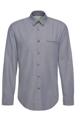 Finely patterned regular-fit shirt in cotton: 'C-Bacchis', Dark Blue