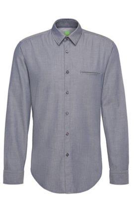 Camisa regular fit con estampado elegante en algodón: 'C-Bacchis', Azul oscuro