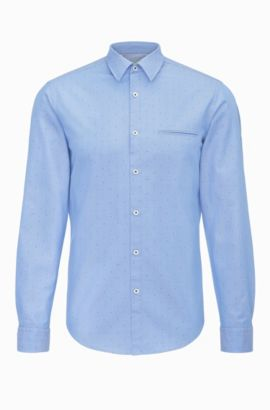 Camisa regular fit con estampado elegante en algodón: 'C-Bacchis', Azul