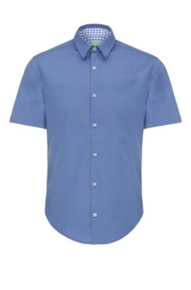 Camicia regular fit in cotone: 'C-Busterino', Blu