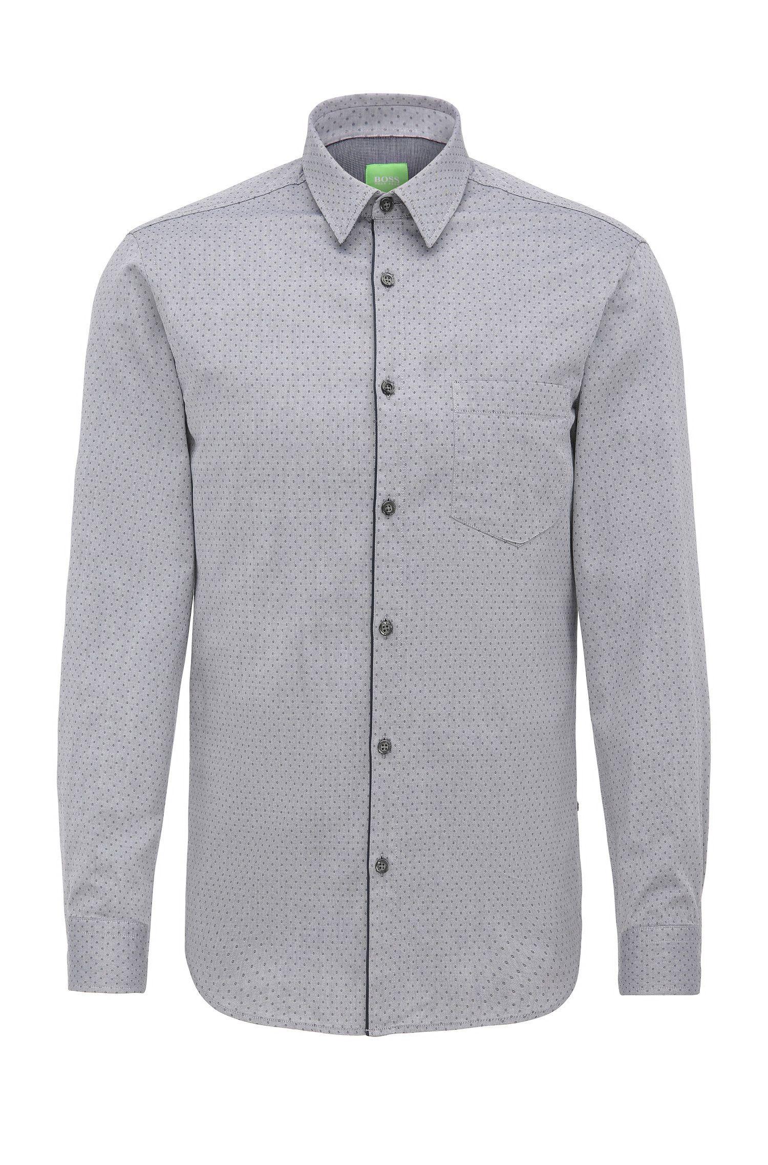 Regular-fit overhemd van katoen met cirkelstructuur: 'C-Barnaba'