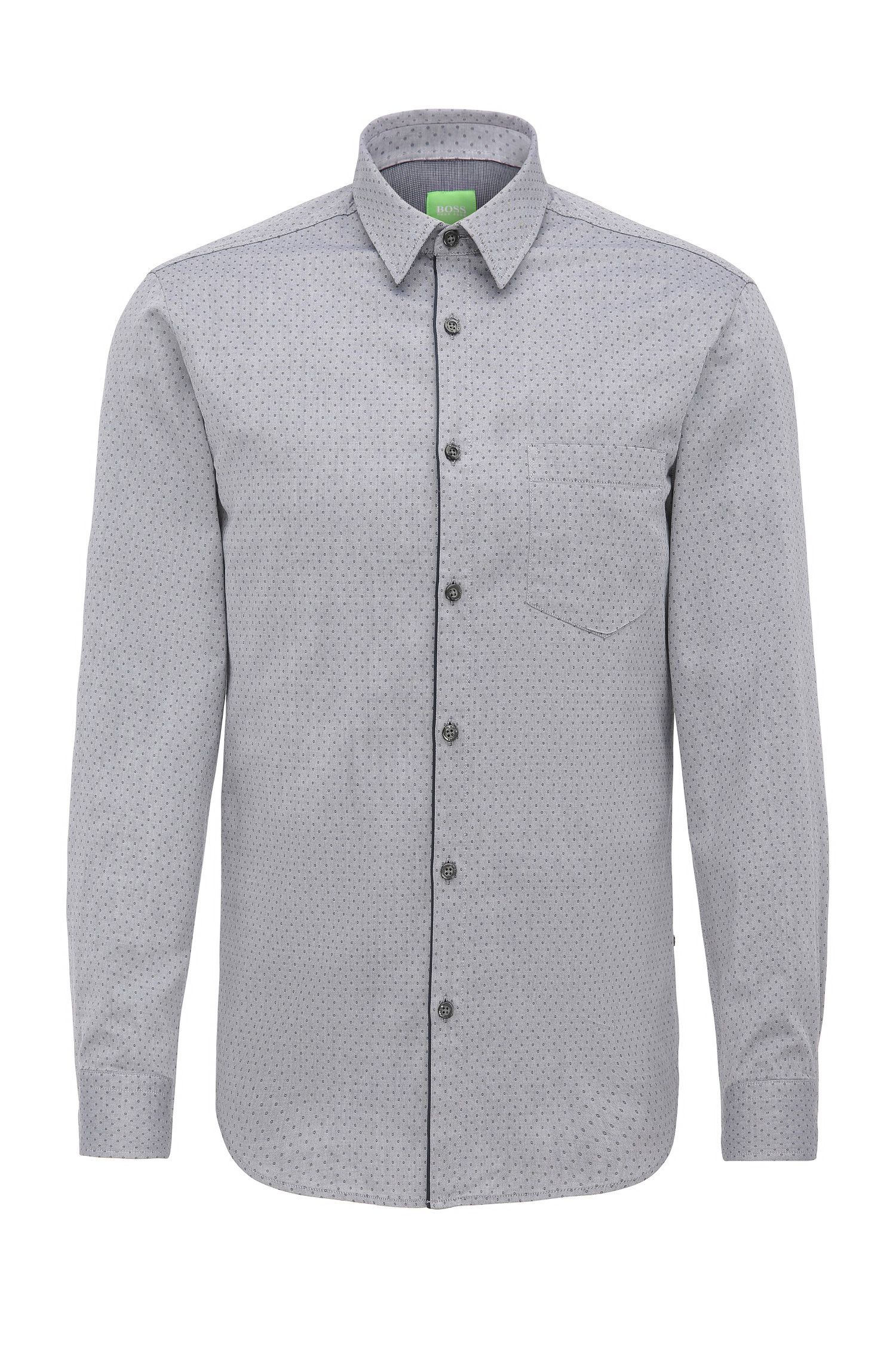 Camisa regular fit en algodón con textura circular: 'C-Barnaba'