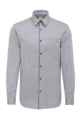 Regular-fit overhemd van katoen met cirkelstructuur: 'C-Barnaba', Donkerblauw
