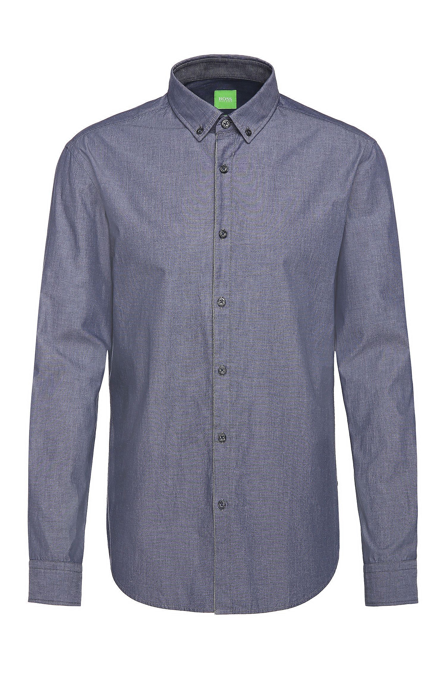Camisa slim fit en algodón con textura jaspeada: 'C-Baltero'