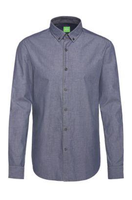 Slim-fit cotton shirt with melange texture: 'C-Baltero', Dark Blue