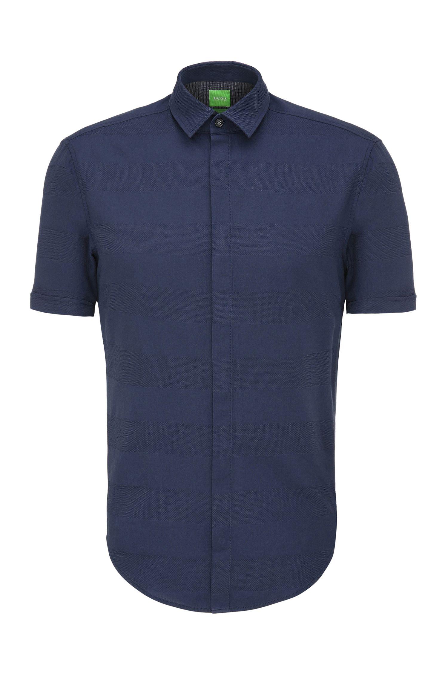 Regular-fit cotton shirt in a striped pattern: 'C-Bigardino'