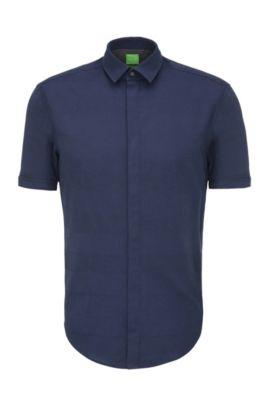 Regular-fit cotton shirt in a striped pattern: 'C-Bigardino', Dark Blue