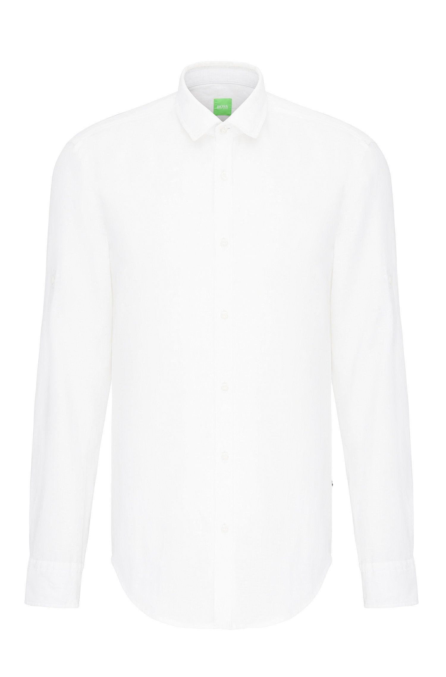 Camisa lisa regular fit en lino: 'C-Barbu'
