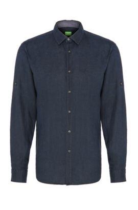 Unifarbenes Regular-Fit Hemd aus Leinen: ´C-Barbu`, Dunkelblau