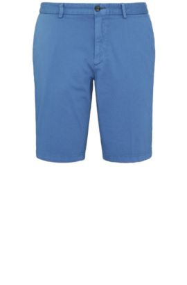 Textured slim-fit shorts in stretch cotton: 'C-Liem4-D', Blue