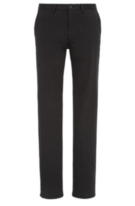 Chino Slim Fit en coton mélangé extensible : « C-Rice1-1-W », Noir