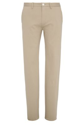 Chino Slim Fit en coton mélangé extensible : « C-Rice1-1-W », Beige clair