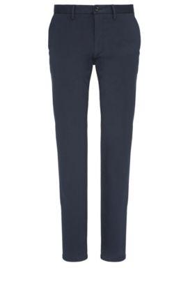 Chino Slim Fit en coton mélangé extensible: «C-Rice1-1-W», Bleu foncé