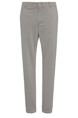Pantalón slim fit en mezcla de algodón: 'Lukes7-1', Gris claro
