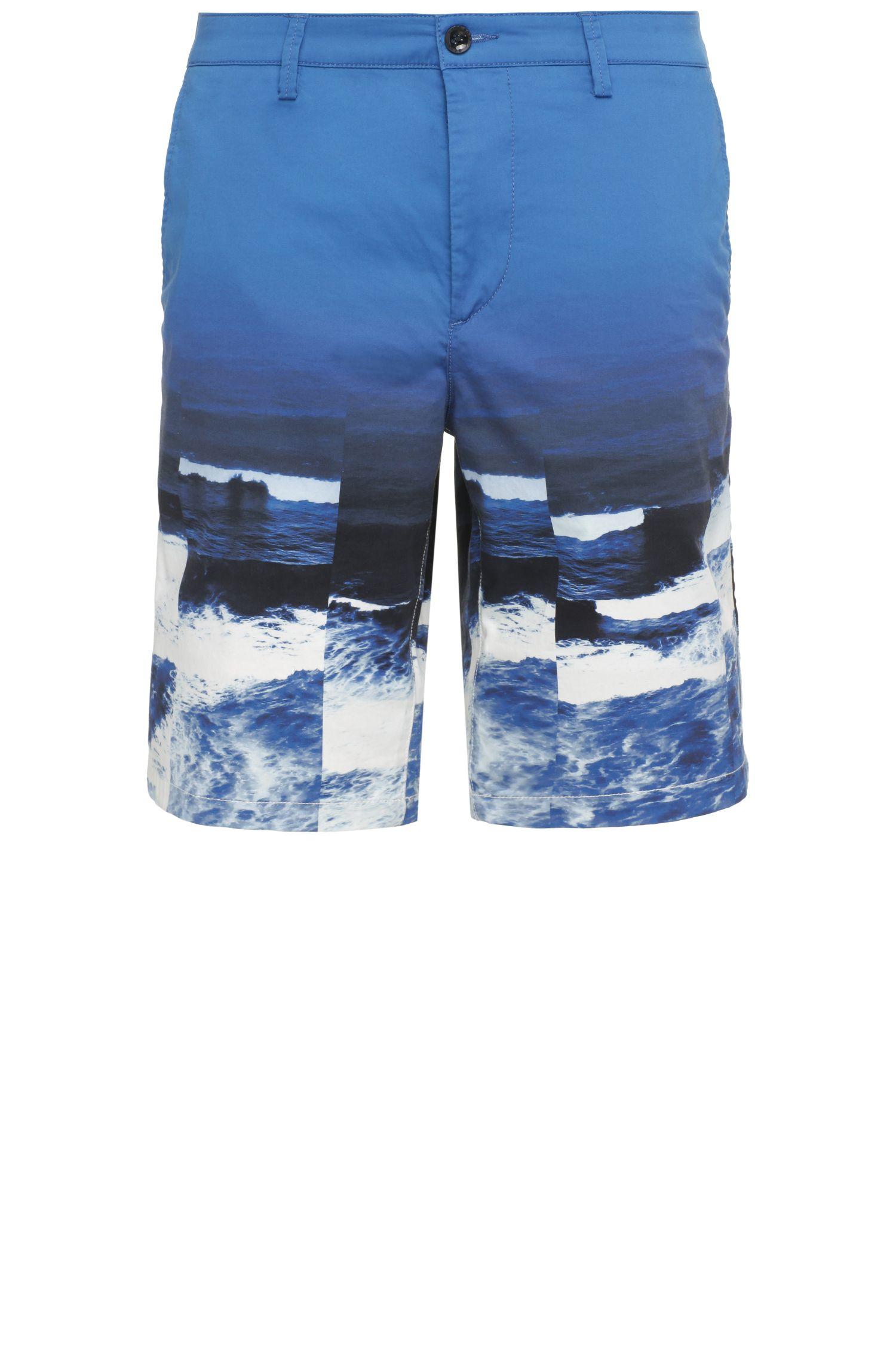Pantaloncini corti slim fit in cotone elasticizzato con stampa a motivo ondulato: 'Liem4-Print-W'
