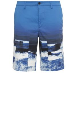 Slim-fit shorts in stretchy cotton with wave print: 'Liem4-Print-W', Blue