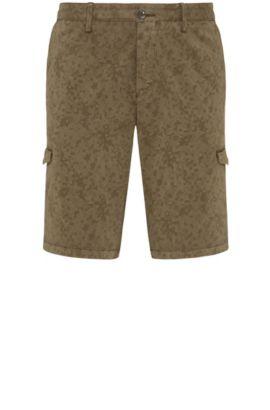 Shorts cargo slim fit estampados en algodón elástico: 'Liem4-2-D', Verde oscuro