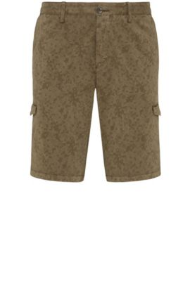 Patterned slim-fit cargo shorts in stretch cotton: 'Liem4-2-D', Dark Green