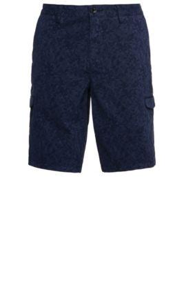 Patterned slim-fit cargo shorts in stretch cotton: 'Liem4-2-D', Dark Blue