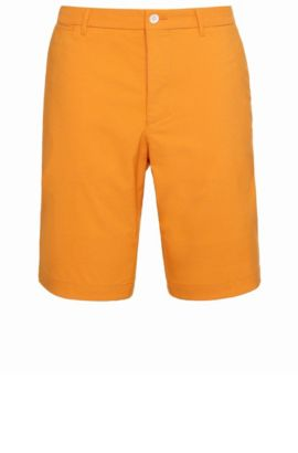 Slim-Fit Golf-Shorts aus elastischem Baumwoll-Mix: ´Hayler-Slim`, Hellorange