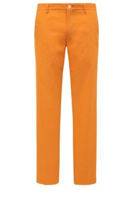 Mottled slim-fit golf trousers in a stretchy material blend: 'Hakan-Slim', Open Orange