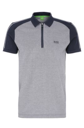 Regular-fit cotton polo shirt in colour-block look: 'Philix', Dark Blue