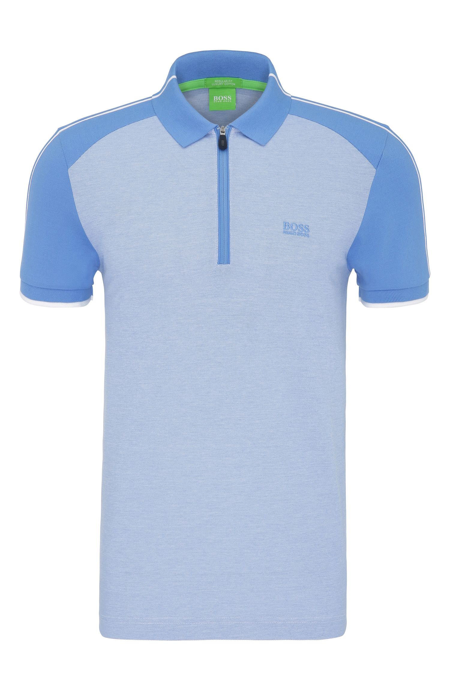 Regular-fit cotton polo shirt in colour-block look: 'Philix'