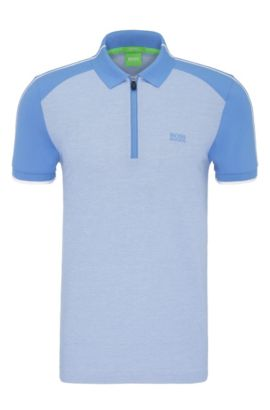 Regular-fit cotton polo shirt in colour-block look: 'Philix', Blue