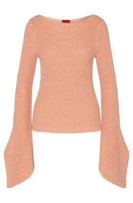 Pullover aus Baumwolle mit Trompeten-Ärmeln: 'Sedna', Hellrot