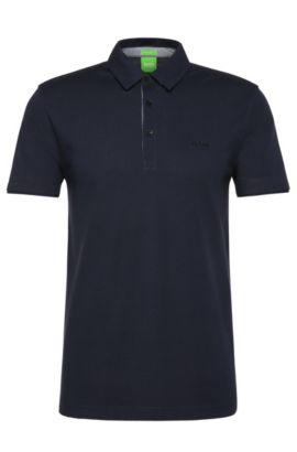 Unifarbenes Regular-Fit Polo aus Baumwolle: ´C-Panova`, Dunkelblau