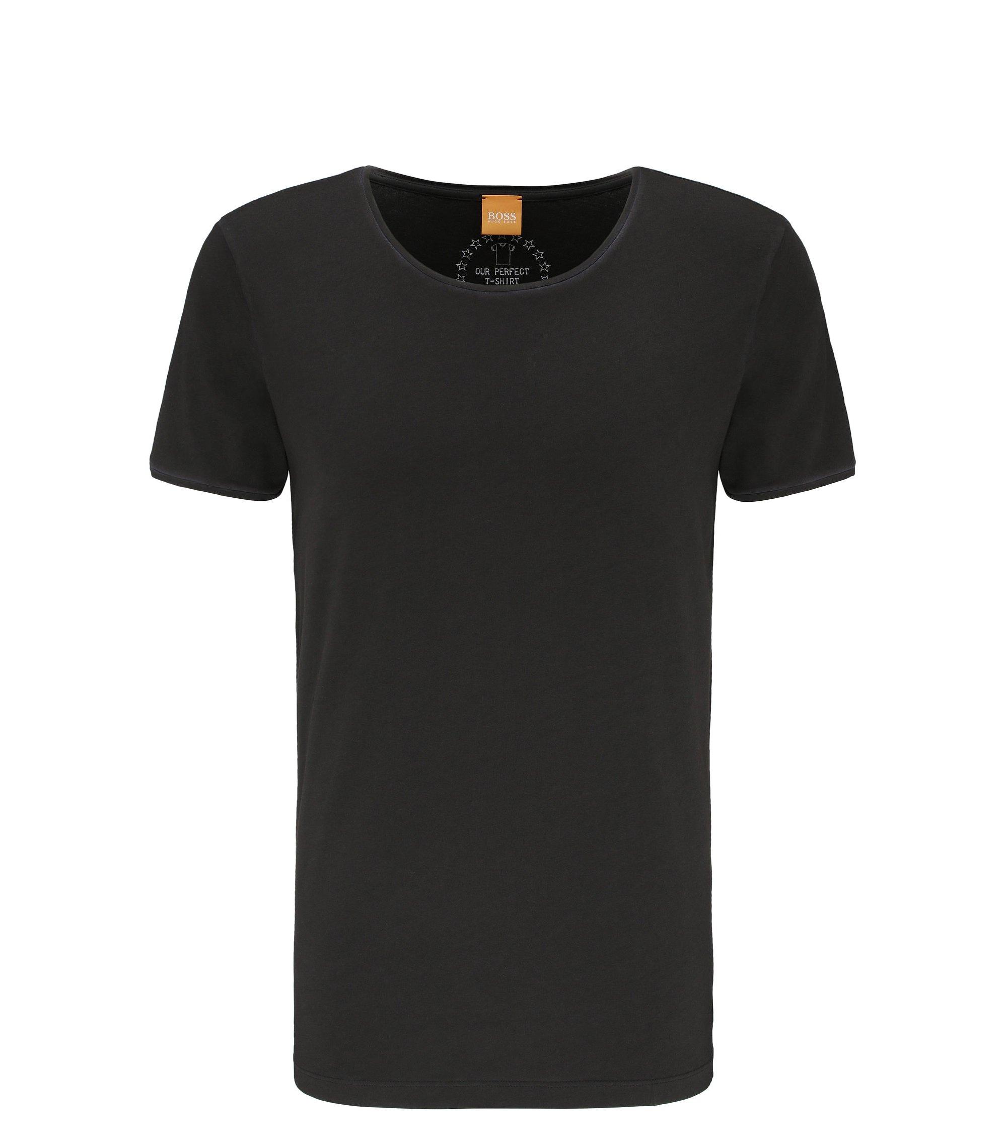 Regular-Fit T-Shirt aus stückgefärbter Baumwolle, Schwarz