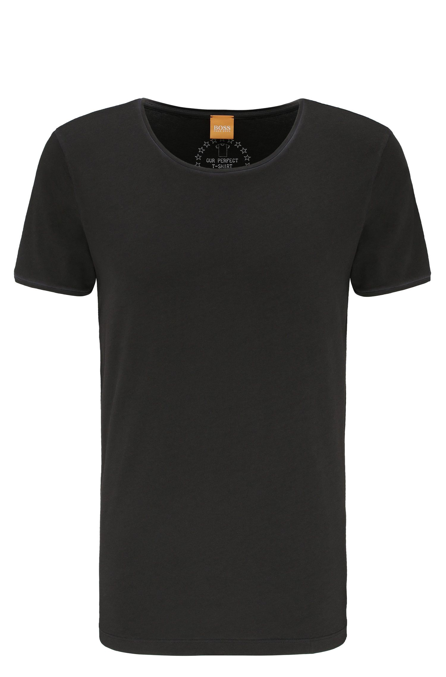 T-shirt Regular Fit en coton lavé Garment Washed, Noir
