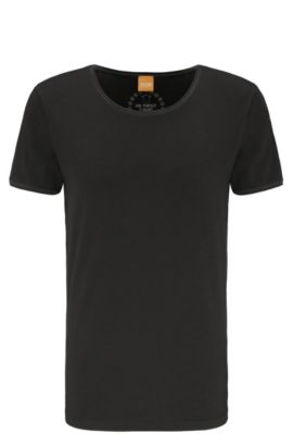 Regular-fit T-shirt van garment-washed katoen, Zwart