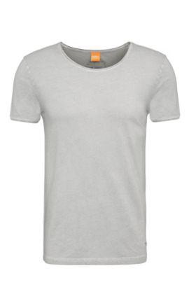 Regular-fit T-shirt in garment-washed cotton, Light Grey