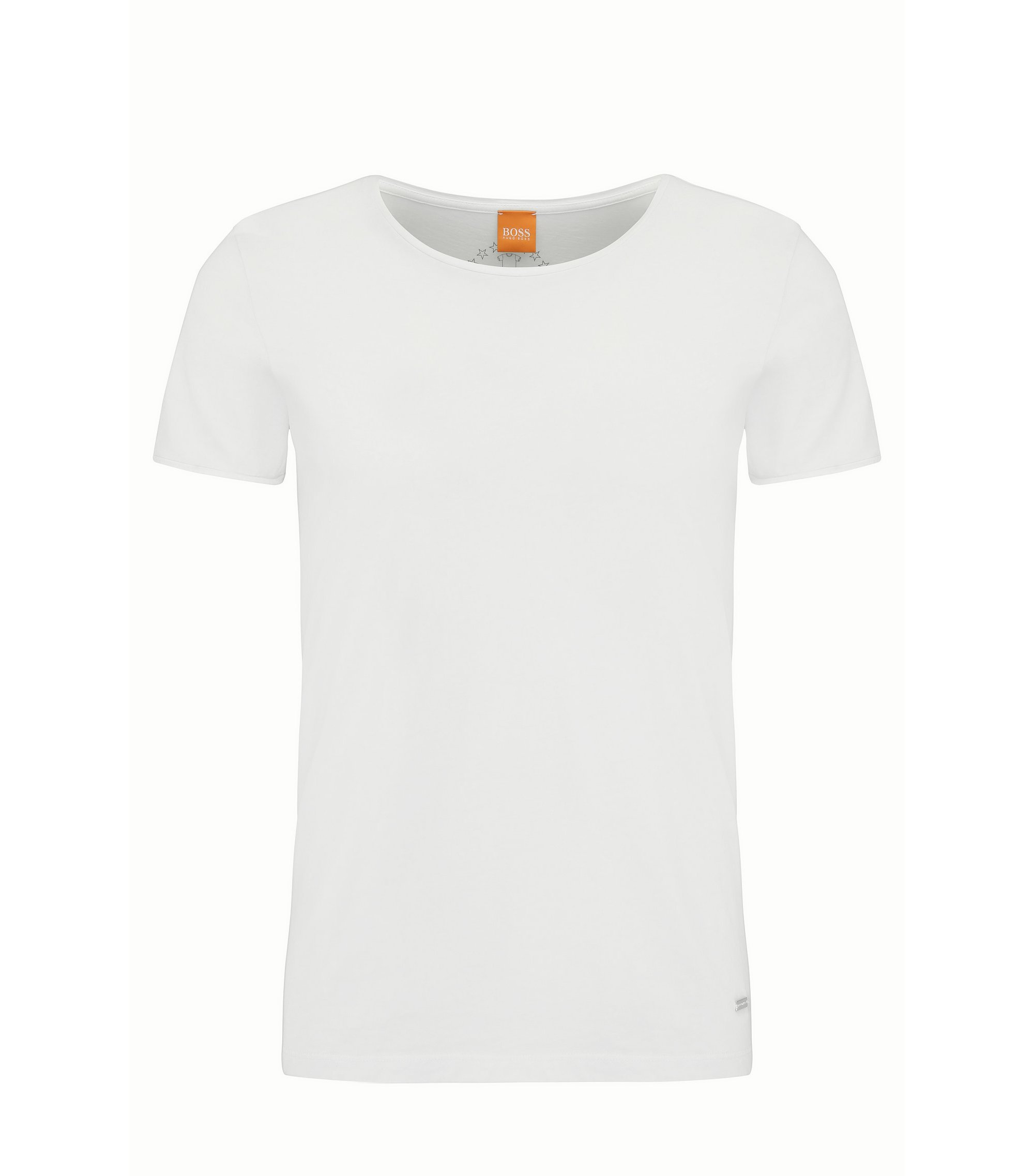 Regular-fit T-shirt in garment-washed cotton, Natural