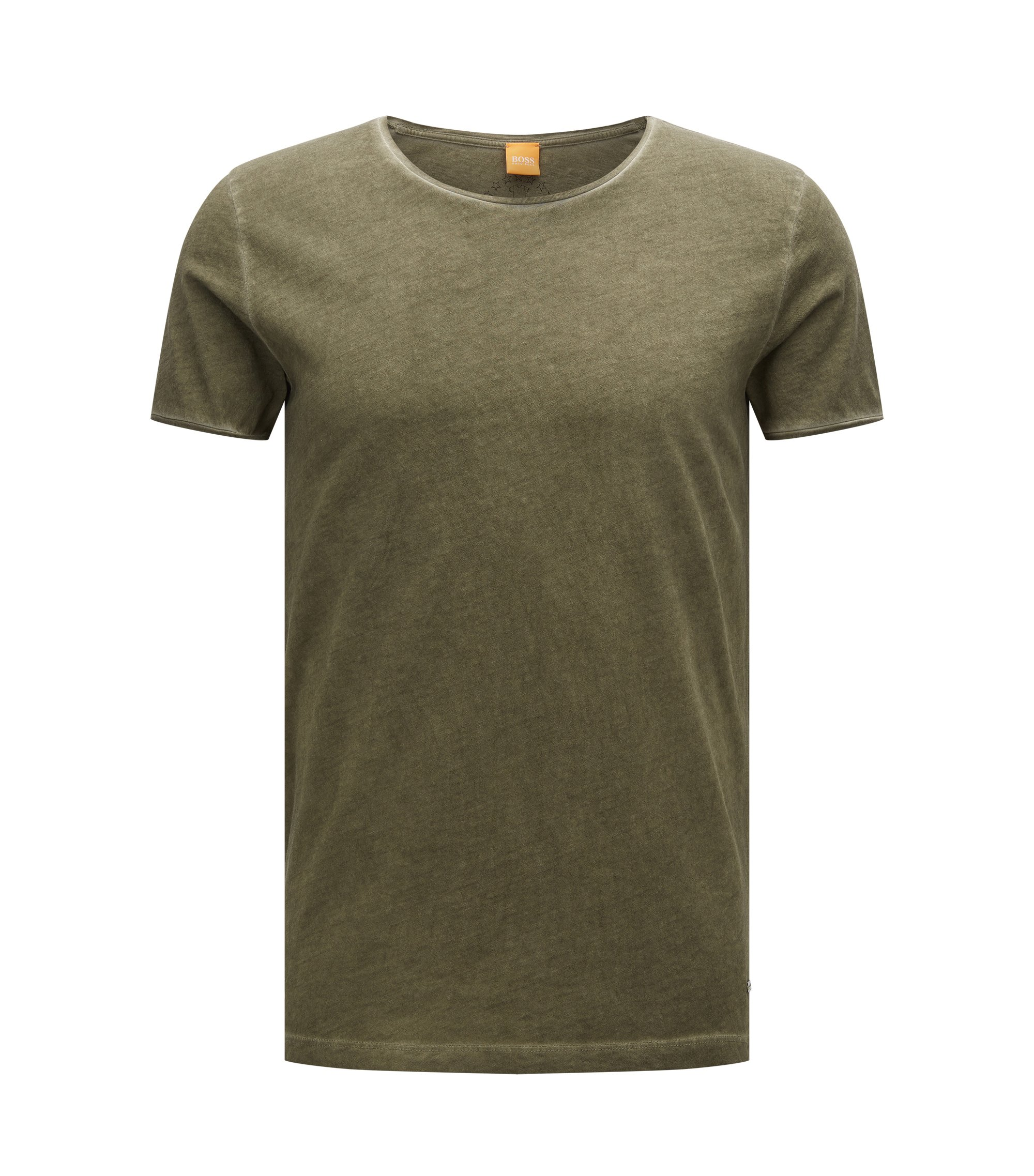 Camiseta regular fit en algodón con lavado en prenda, Verde oscuro