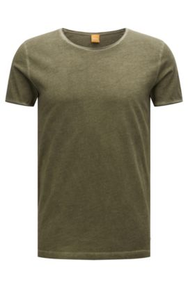 T-shirt regular fit in cotone tinto in capo, Verde scuro