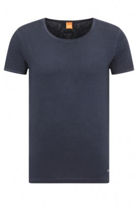 T-shirt regular fit in cotone tinto in capo, Blu scuro