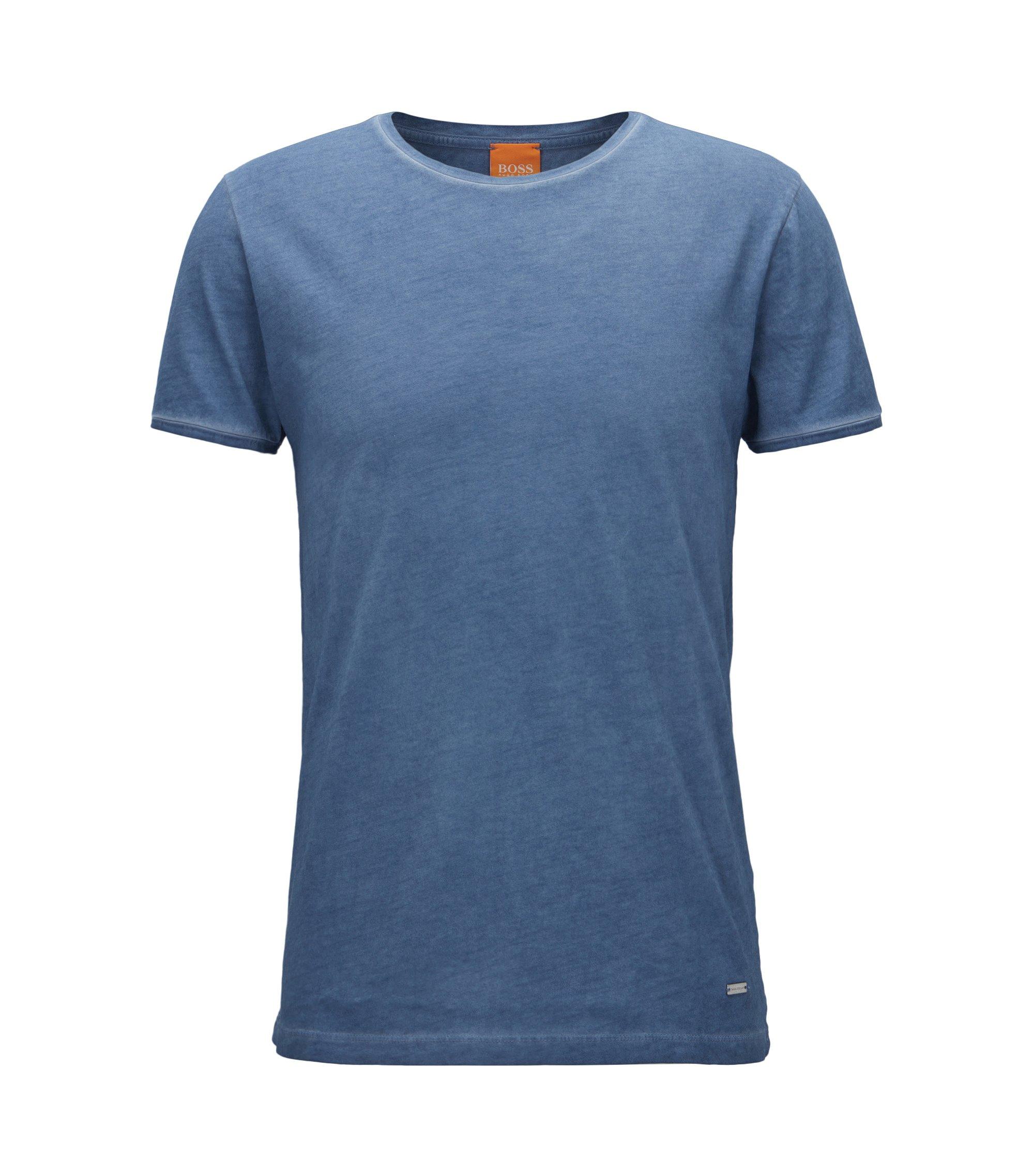 Regular-Fit T-Shirt aus stückgefärbter Baumwolle, Dunkelblau