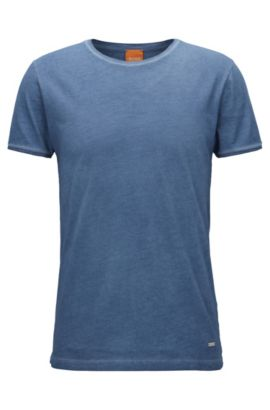 Regular-fit T-shirt van garment-washed katoen, Donkerblauw