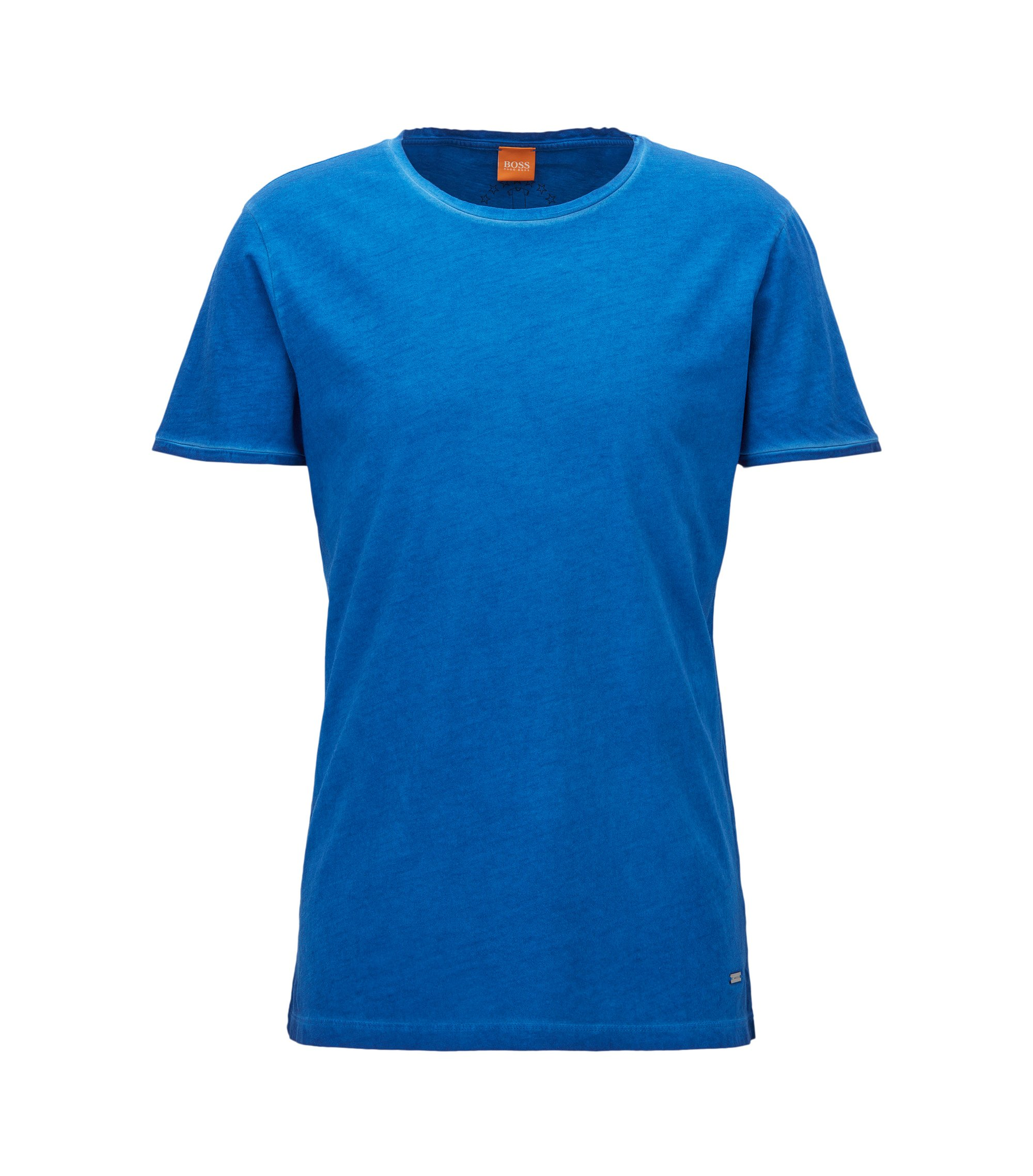 T-shirt Regular Fit en coton lavé Garment Washed, Bleu