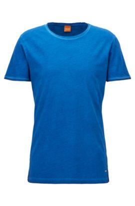 T-shirt Regular Fit en coton lavé Garment Washed, Bleu