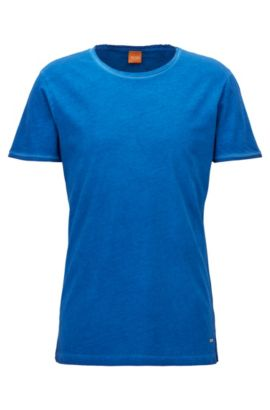 Regular-fit T-shirt van garment-washed katoen, Blauw