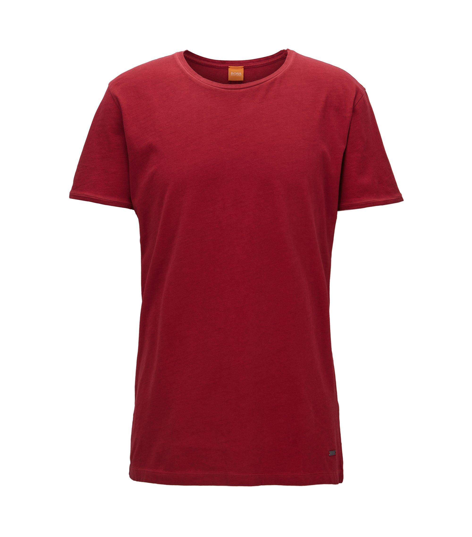 Regular-fit T-shirt van garment-washed katoen, Rood