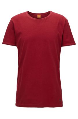 Regular-fit T-shirt van garment-washed katoen, Rood