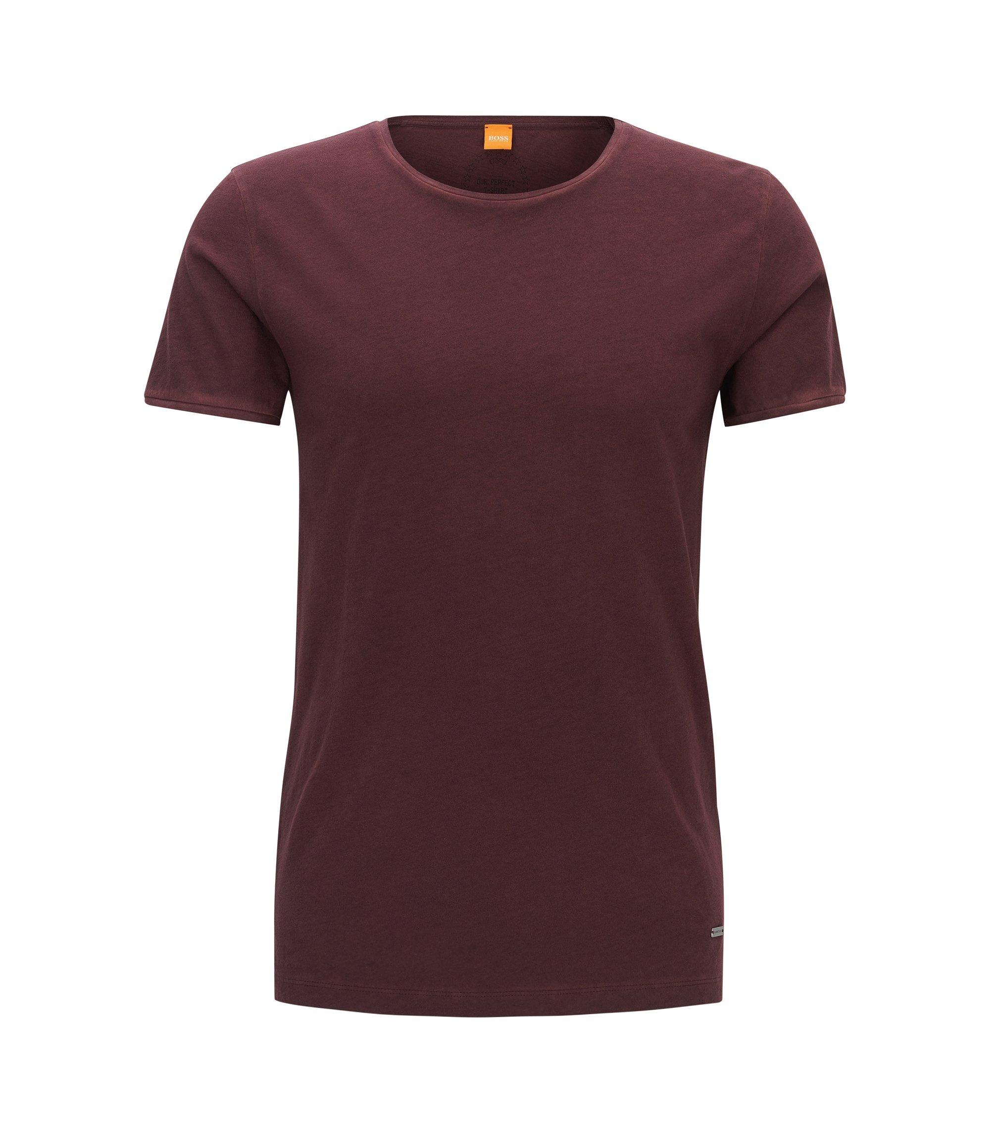 T-shirt Regular Fit en coton lavé Garment Washed, Rouge sombre