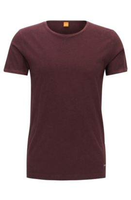 T-shirt regular fit in cotone tinto in capo, Rosso scuro
