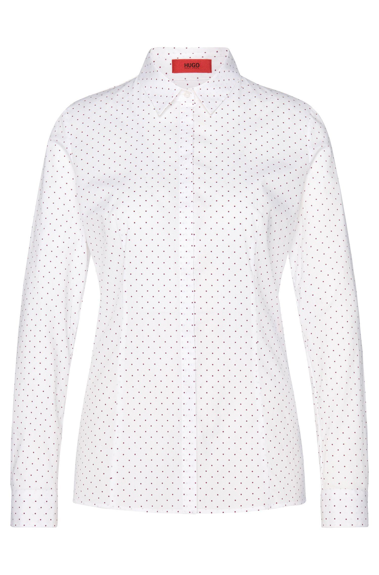 Gestippelde blouse van stretchkatoen: 'Etrina'