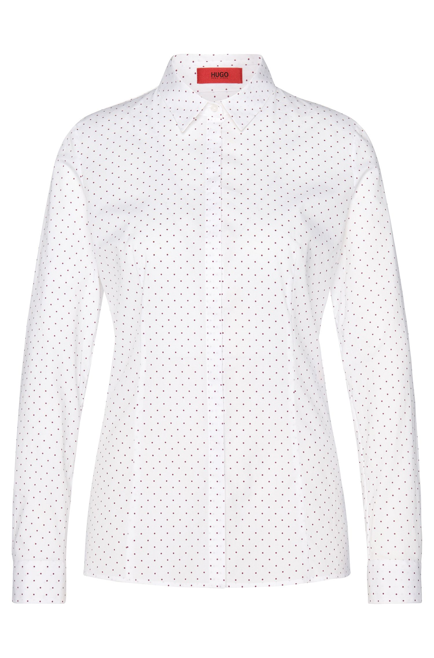 Polka-dot pattern blouse in stretchy cotton: 'Etrina'