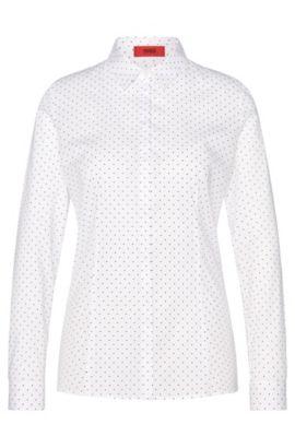 Gestippelde blouse van stretchkatoen: 'Etrina', Bedrukt